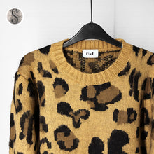 Load image into Gallery viewer, Leopard Print Cashmere Sweater Women Pullover Mohair Sweater Korean Long Sleeve Knit Pullovers O-Neck Winter Warm Jumper Tops