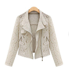 Load image into Gallery viewer, Lace Biker Jacket 2019 Autumn New Brand High Quality Full Lace Outwear Leisure Casual Short Jacket Metal Zipper Jacket FREE SHIP