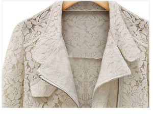 Lace Biker Jacket 2019 Autumn New Brand High Quality Full Lace Outwear Leisure Casual Short Jacket Metal Zipper Jacket FREE SHIP