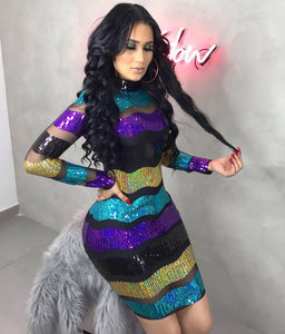 2019 Sequined Striped Mesh Spring Winter Women sexy Dresses Bandage Fashion Casual bodycon party club Mini dress vestidos YZ1020