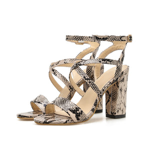 Fashion Sexy Snake Print Hollow Women Sandals High Block Heeled Open Peep Toe Shoes Comfortable Ladies Party Pumps Ankle Strap