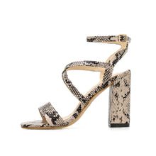 Load image into Gallery viewer, Fashion Sexy Snake Print Hollow Women Sandals High Block Heeled Open Peep Toe Shoes Comfortable Ladies Party Pumps Ankle Strap