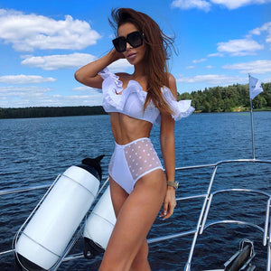 Sexy 2019 High Waist Swimsuit Women Ruffle One Piece Swimwear Female Solid Bikini Lace Bathing Suit Beach Wear Swim Biquini