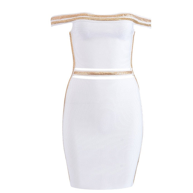 Seamyla Bandage Dresses Women 2019 New Club Celebrity Party Dress Summer Elegant Black White Bodycon Sexy Sequined Dress Vestido