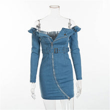 Load image into Gallery viewer, Elegant Fashion Bodycon Belted Denim Dresses Women Long Sleeve Off Shoulder Jeans Mini Dress Female 2019 Casual Blue Vestidos