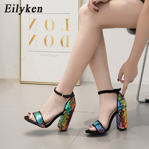 Sequined Cloth Women Sandals Ankle Strap Summer shoes Thick high heels Gladiator Buckle Strap Sandals Women Pumps