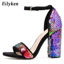 Load image into Gallery viewer, Eilyken Sequined Cloth Women Sandals Ankle Strap Summer shoes Thick high heels Gladiator Buckle Strap Sandals Women Pumps