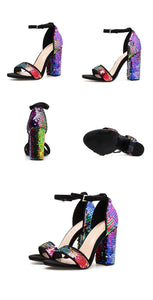 Eilyken Sequined Cloth Women Sandals Ankle Strap Summer shoes Thick high heels Gladiator Buckle Strap Sandals Women Pumps