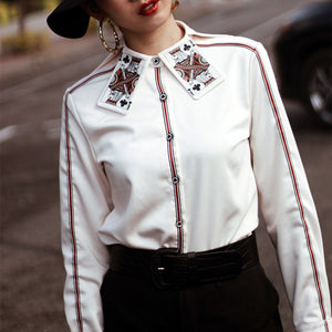 Women Blouse Shirt Female New Spring Special King Card Print Collar Shirts Cool Woman Tops Ladies Party Long Sleeve Shirts NS634