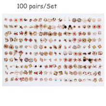Load image into Gallery viewer, 100 & 36 Pairs Women Acrylic Crystal Small Stud Earrings Sets Girl Child Heart Star Animal Moon Crown Earring Jewelry
