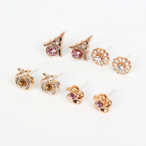 100 & 36 Pairs Women Acrylic Crystal Small Stud Earrings Sets Girl Child Heart Star Animal Moon Crown Earring Jewelry