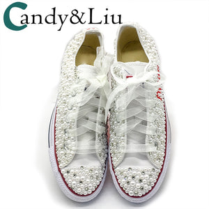 Women Vulcanized Shoes White Pearls Flats Personalized Custom Letters Name Christmas Gift Rhinestone Beads Sneakers Casual Shoes