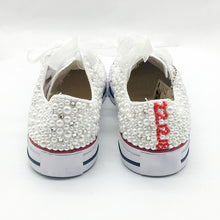 Load image into Gallery viewer, Women Vulcanized Shoes White Pearls Flats Personalized Custom Letters Name Christmas Gift Rhinestone Beads Sneakers Casual Shoes