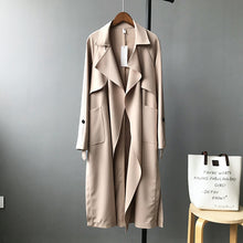 Load image into Gallery viewer, 2019 Spring Women Long Coat Turn Down Collar Harajuku Women Army Green Trench Coat Casaco Feminino Abrigo Mujer Trench Femme