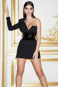 High Quality Black Long Sleeve One Shoulder Elegant Dress Club Party Dress
