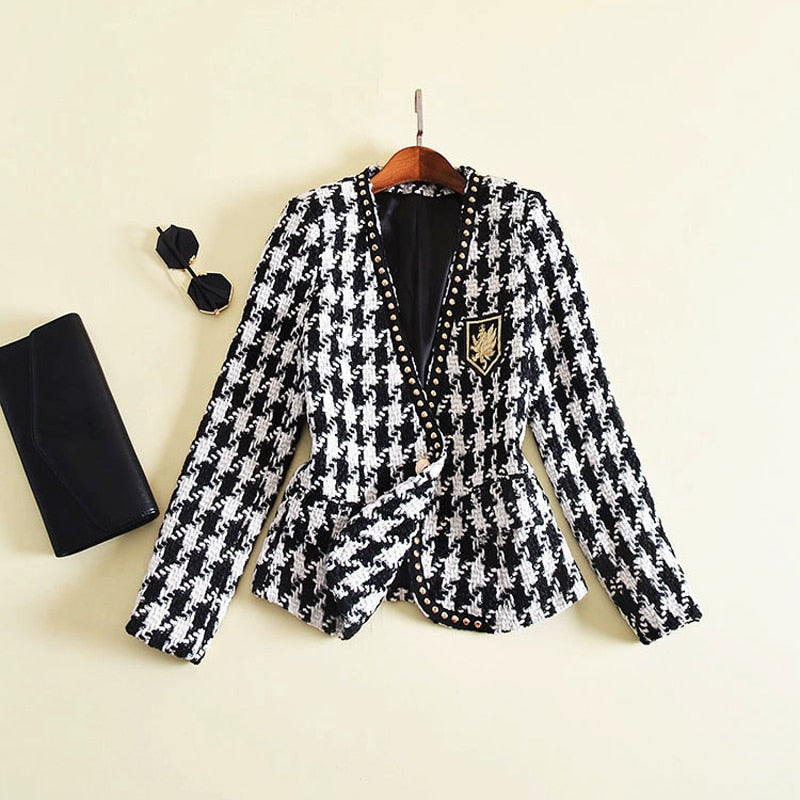 New Fashion Runway 2019 Designer Jacket Women's Long Sleeve Badge Embroidery Rivet Houndstooth Tweed Jacket Outer Coat