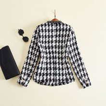 Load image into Gallery viewer, New Fashion Runway 2019 Designer Jacket Women's Long Sleeve Badge Embroidery Rivet Houndstooth Tweed Jacket Outer Coat
