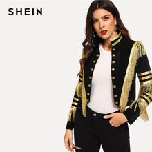 Load image into Gallery viewer, SHEIN Lady Fringe Patched Metallic Double Breasted Stripe Black Gothic Jacket Women Autumn Stand Collar Cropped Jacket