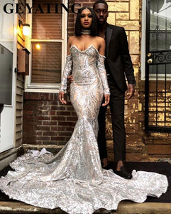 Luxury Silver Sequined Long Sleeve Mermaid Prom Dress for Black Girls Plus Size Court Train African Evening Formal Dresses 2019