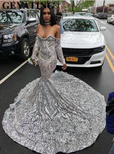 Load image into Gallery viewer, Luxury Silver Sequined Long Sleeve Mermaid Prom Dress for Black Girls Plus Size Court Train African Evening Formal Dresses 2019