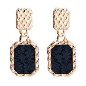 Qiaose Fashion Snake Print Square Pendant Dangle Earrings for Women Fashion Jewelry Collection Earrings Accessories Wholesale