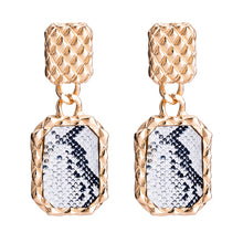 Load image into Gallery viewer, Qiaose Fashion Snake Print Square Pendant Dangle Earrings for Women Fashion Jewelry Collection Earrings Accessories Wholesale