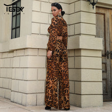 Load image into Gallery viewer, Yesexy 2019 Sexy Leopard Women Jumpsuit Two pcs Set Elegant Rompers Long Sleeve Short Top Party Jumpsuits Clubwear VR18531