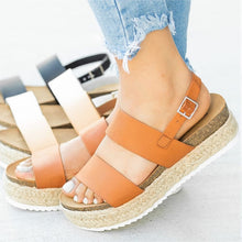 Load image into Gallery viewer, Women Sandals 2019 New Platform Sandals With Wedges Shoes For Women Summer Chaussures Femme Leather Chunky Heels Sandalias Mujer