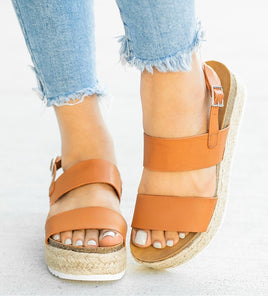 Women Sandals 2019 New Platform Sandals With Wedges Shoes For Women Summer Chaussures Femme Leather Chunky Heels Sandalias Mujer