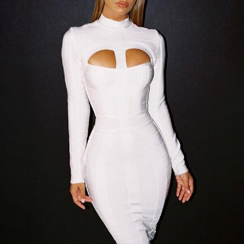 BEAUKEY Fashion Top quality White Long Sleeve Hollow Out Sexy Mid-Calf Bodycon Party Bandage Dress Cheap Size XL