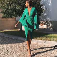 Load image into Gallery viewer, Green Elegant Sexy Dress Summer 2019 Women Deep V Neck Bodycon Party Dresses Ladies Flare Sleeve Split Tunic Midi Dress Women
