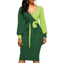 Load image into Gallery viewer, Women Fashion Sashes Sexy Office Lady Work Dress Long Sleeve Deep V Neck Contrast Color Shirt Dress 2018 Winter Women Dress Xxl