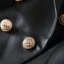 Load image into Gallery viewer, Designer Blazer Jacket Women's Lion Metal Buttons Faux Leather Blazer Outer Coat