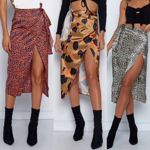 Womail Women Skirt Summer Fashion Sexy Print High Waist Irregular Split Bandage Pencil Skirt Daily Casual 2019 dropship f10