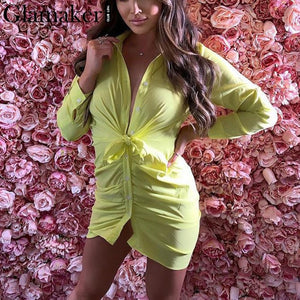 Glamaker Sexy white pleated buttons bodycon dress Women mini dress summer elegant Female casual party club short blouse dress