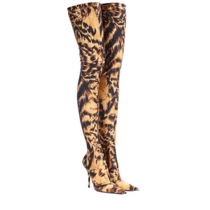 ARQA Latest Fashion Shoes Autumn Winter Flora Printed Lycra Stretch Pull on Over the Knee High Heel Boots for women