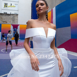 Loverxu Sexy Boat Neck Matte Satin Mermaid Wedding Dresses 2019 Simple Detachable Train Lace Vintage Trumpet Bridal Gowns
