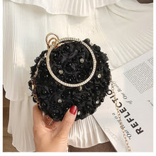 Load image into Gallery viewer, Metal Rng Tote bag Elegant Female Round Bag 2019 New Quality Women's Handbag Diamond Pearl Flower Chain Shoulder Messenger Bag