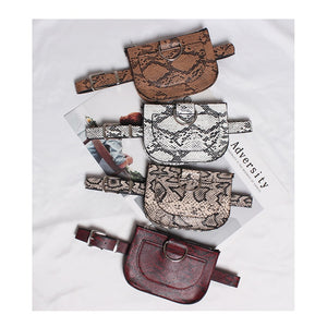 Women Waist Pack Serpentine Fanny Pack Pu Leahter Waist Bag Famal Fashion Snake Skin Waist Belt High quality Female Purse B31