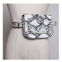 Load image into Gallery viewer, Women Waist Pack Serpentine Fanny Pack Pu Leahter Waist Bag Famal Fashion Snake Skin Waist Belt High quality Female Purse B31