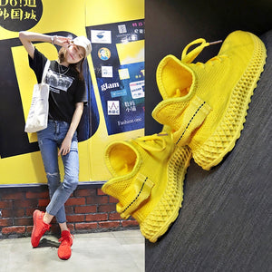 New Designer Sneakers Women Platform Sneakers Casual Shoes Women 2019 Fashion Flying Women Sneakers Yellow Luxury Basket Femme