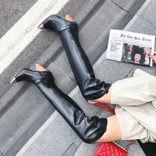 Load image into Gallery viewer, 2019 Plus size 34-45 New Genuine leather boots women metal high heels autumn winter over the knee boots sexy ladies thigh boots