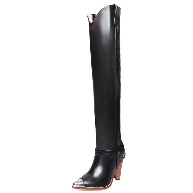 2019 Plus size 34-45 New Genuine leather boots women metal high heels autumn winter over the knee boots sexy ladies thigh boots