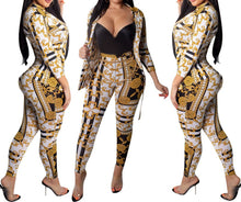 Load image into Gallery viewer, Gold Chain Printed Two Piece Set Women Tracksuits Autumn Spring Long Sleeve Button Up Shirt And Pant Ladies Boho Sweat Suit