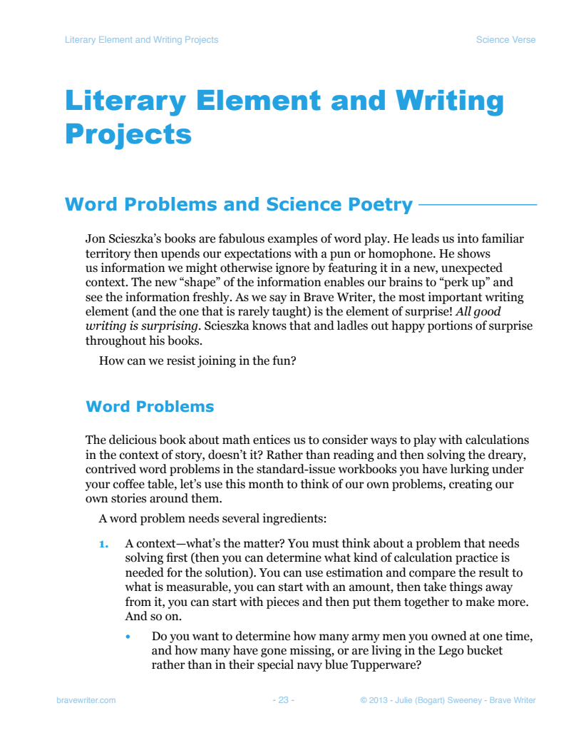 worksheet Estimation Word Problems math curse and science verse brave writer verse