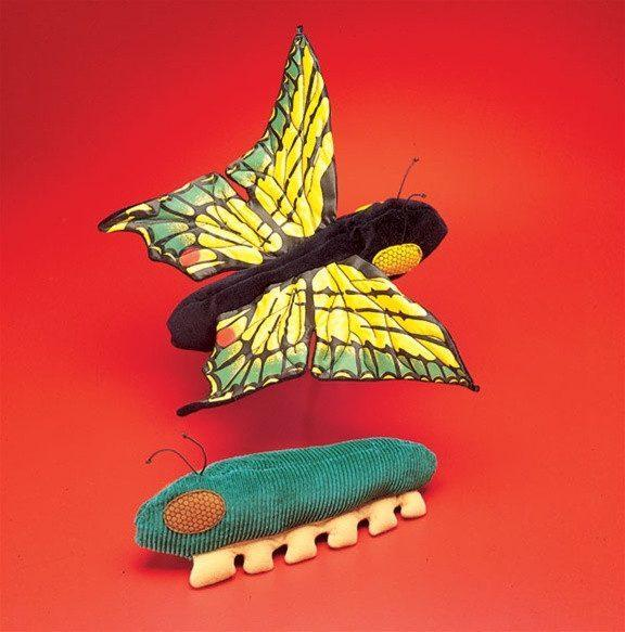 Butterfly/Caterpillar Plush Toy from Folkmanis Puppets - AardvarksToZebras.com
