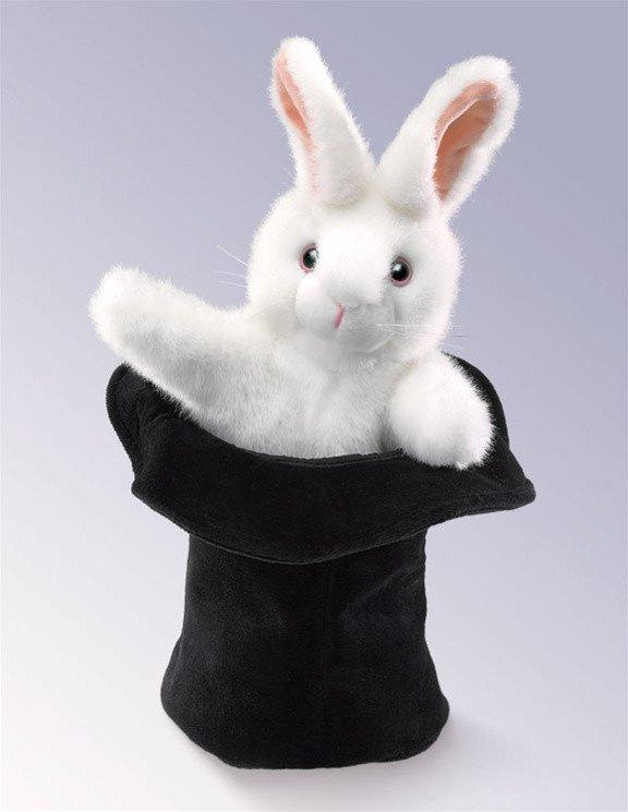 Rabbit In Hat Hand Puppet from Folkmanis Puppets - AardvarksToZebras.com