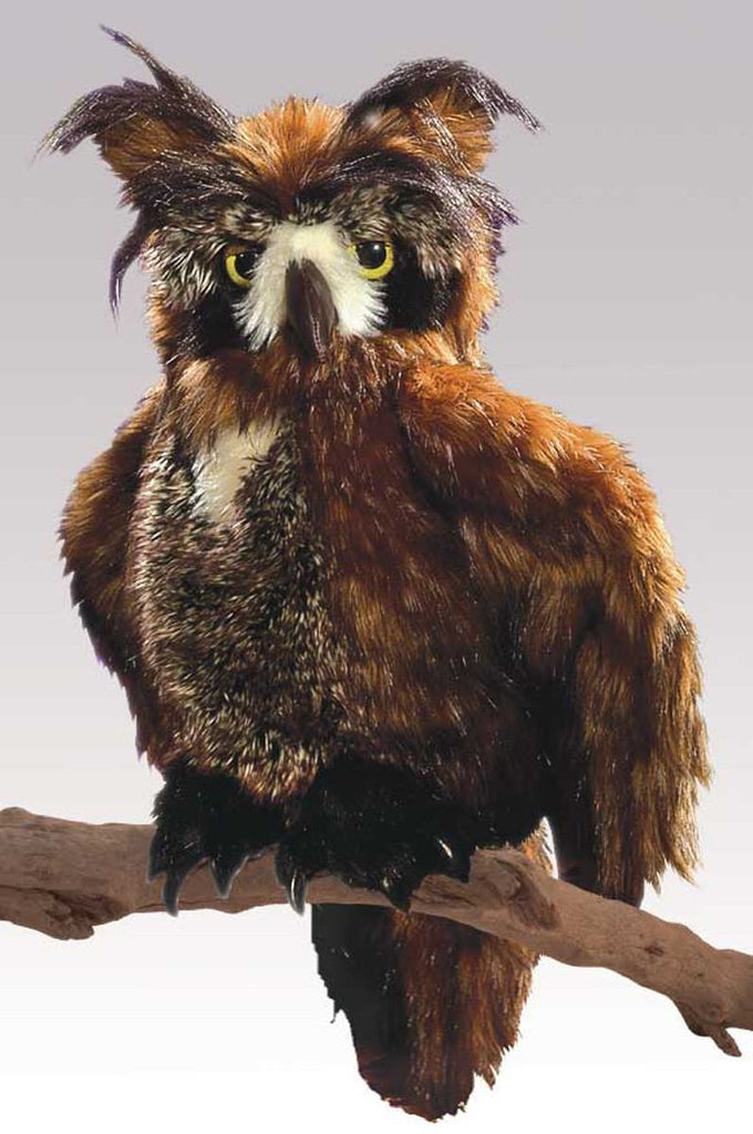 Owl, Great Horned Hand Puppet from Folkmanis Puppets - AardvarksToZebras.com