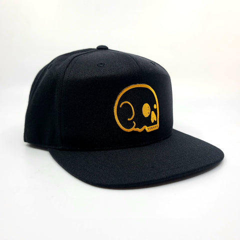 Snapback - Black with Black/Yellow Skull
