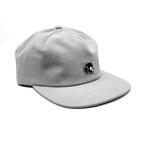 Strapback 1 Panel - Grey Chambray with Black Skull